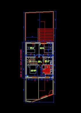 فایل اتوکد پلان معماری طبقه اول ساختمان ویلایی 2 طبقه با مبلمان کامل قابل ویرایش