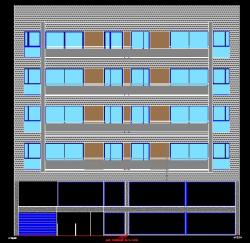 فایل اتوکد نما مجتمع مسکونی 4 طبقه کامل قابل ویرایش