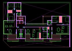 فایل اتوکد پلان معماری طبقه دوم مجتمع مسکونی 8 طبقه , هر طبقه 3 واحد با مبلمان کامل قابل ویرایش