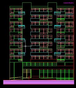 فایل اتوکد نما مجتمع مسکونی 8 طبقه , هر طبقه 3 واحد کامل قابل ویرایش