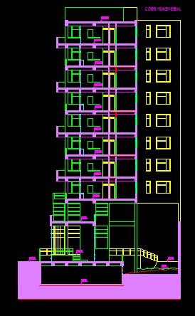 فایل اتوکد برش مجتمع مسکونی 8 طبقه , هر طبقه 3 واحد کامل قابل ویرایش