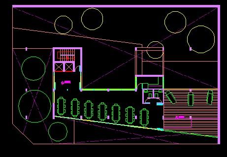 فایل اتوکد پلان معماری طبقه اول مجتمع مسکونی 8 طبقه , هر طبقه 3 واحد با مبلمان کامل قابل ویرایش