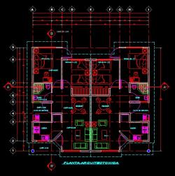 فایل اتوکد پلان معماری طبقه همکف ساختمان ویلایی یک طبقه با سقف شیروانی با مبلمان کامل قابل ویرایش