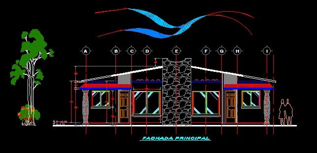 فایل اتوکد نما ساختمان ویلایی یک طبقه با سقف شیروانی کامل قابل ویرایش