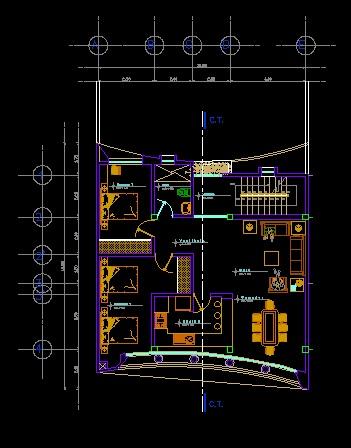 فایل اتوکد پلان معماری طبقه دوم منزل مسکونی با مبلمان کامل قابل ویرایش