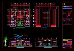 پروژه کامل اتوکد ساختمان ویلایی 1 طبقه با سقف شیروانی دارای نما , قابل ویرایش