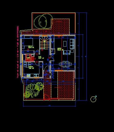 فایل اتوکد پلان معماری طبقه اول ساختمان ویلایی 2 طبقه کامل قابل ویرایش