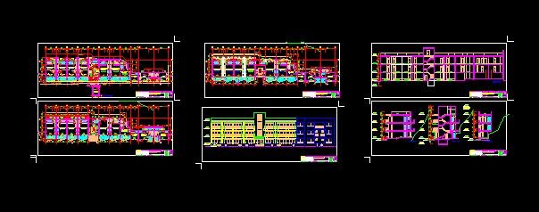 117. پروژه کامل اتوکد ساختمان مجتمع خوابگاه دانشجویی 3 طبقه , دارای نما و برش قابل ویرایش