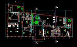 فایل اتوکد پلان معماری طبقه همکف منزل مسکونی با مبلمان و اندازه گذاری کامل قابل ویرایش