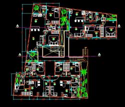 فایل اتوکد پلان معماری طبقه دوم منزل مسکونی با مبلمان و اندازه گذاری کامل قابل ویرایش