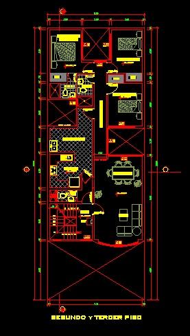 فایل اتوکد پلان معماری طبقه اول منزل مسکونی 3 طبقه با مبلمان کامل قابل ویرایش