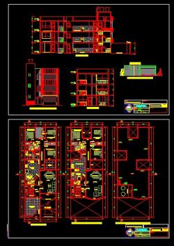 پروژه کامل اتوکد منزل مسکونی 3 طبقه دارای نما و برش قابل ویرایش