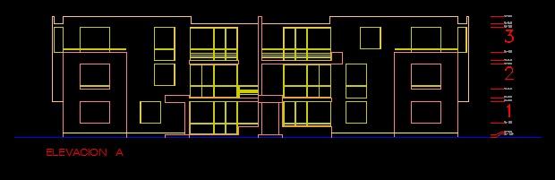 فایل اتوکد نما آپارتمان مسکونی 12 واحدی 3 طبقه با کد ارتفاعی کامل قابل ویرایش