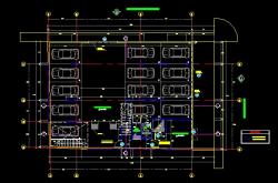 فایل اتوکد پلان معماری طبقه همکف آپارتمان 6 طبقه با مبلمان و اندازه گذاری کامل قابل ویرایش