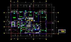فایل اتوکد پلان معماری طبقه اول آپارتمان 6 طبقه با مبلمان و اندازه گذاری کامل قابل ویرایش