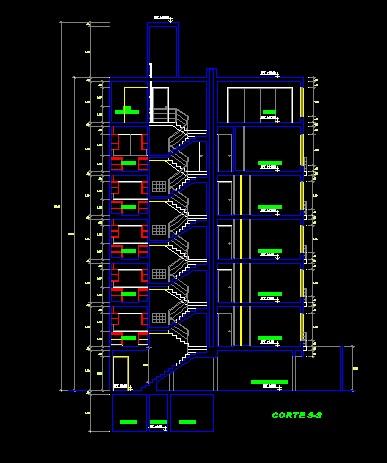 فایل اتوکد برش آپارتمان 6 طبقه با کد ارتفاعی کامل رد شده از پله قابل ویرایش