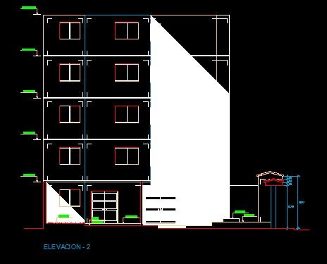 فایل اتوکد نما آپارتمان 4 طبقه روی پیلوت با کد ارتفاعی کامل قابل ویرایش