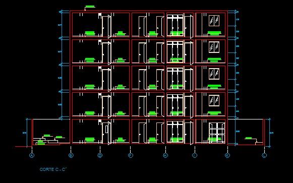 فایل اتوکد برش آپارتمان 4 طبقه روی پیلوت با کد ارتفاعی کامل قابل ویرایش
